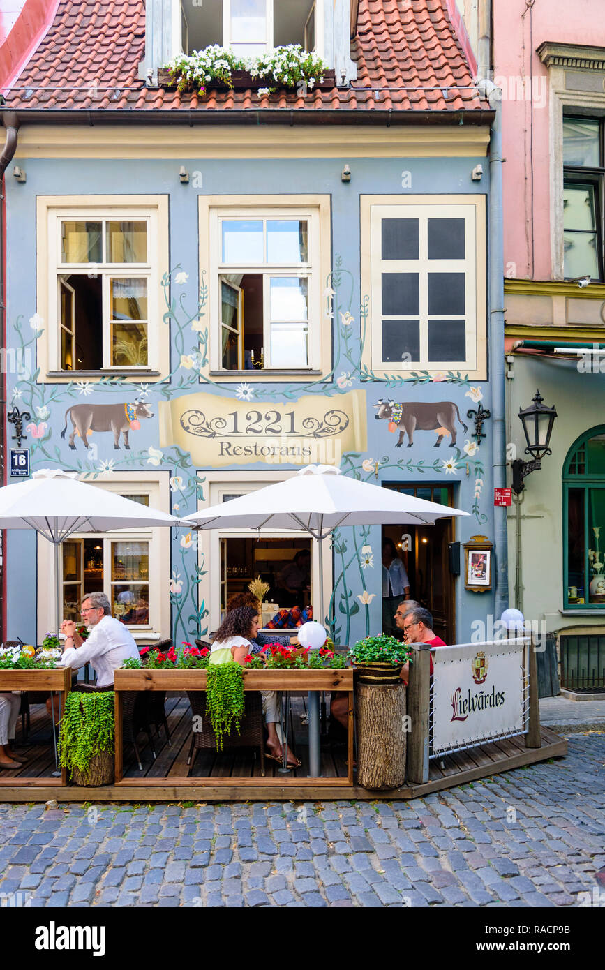 Restaurant 1221, Jauniela Street, Old Town, Riga, Latvia, Europe - Stock Image
