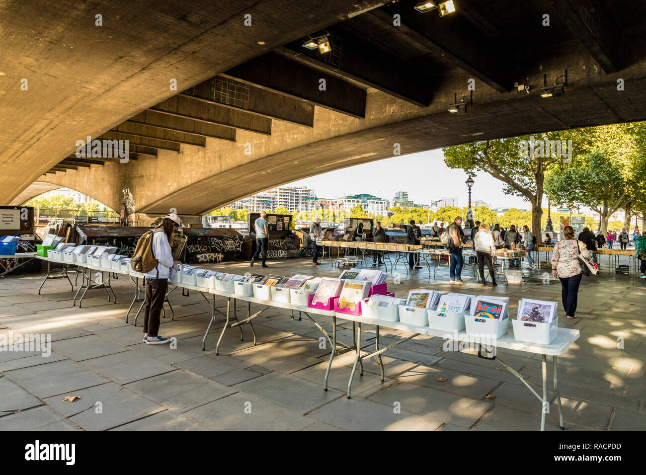 A second hand book stall on the South Bank, London, England, United Kingdom, Europe - Stock Image