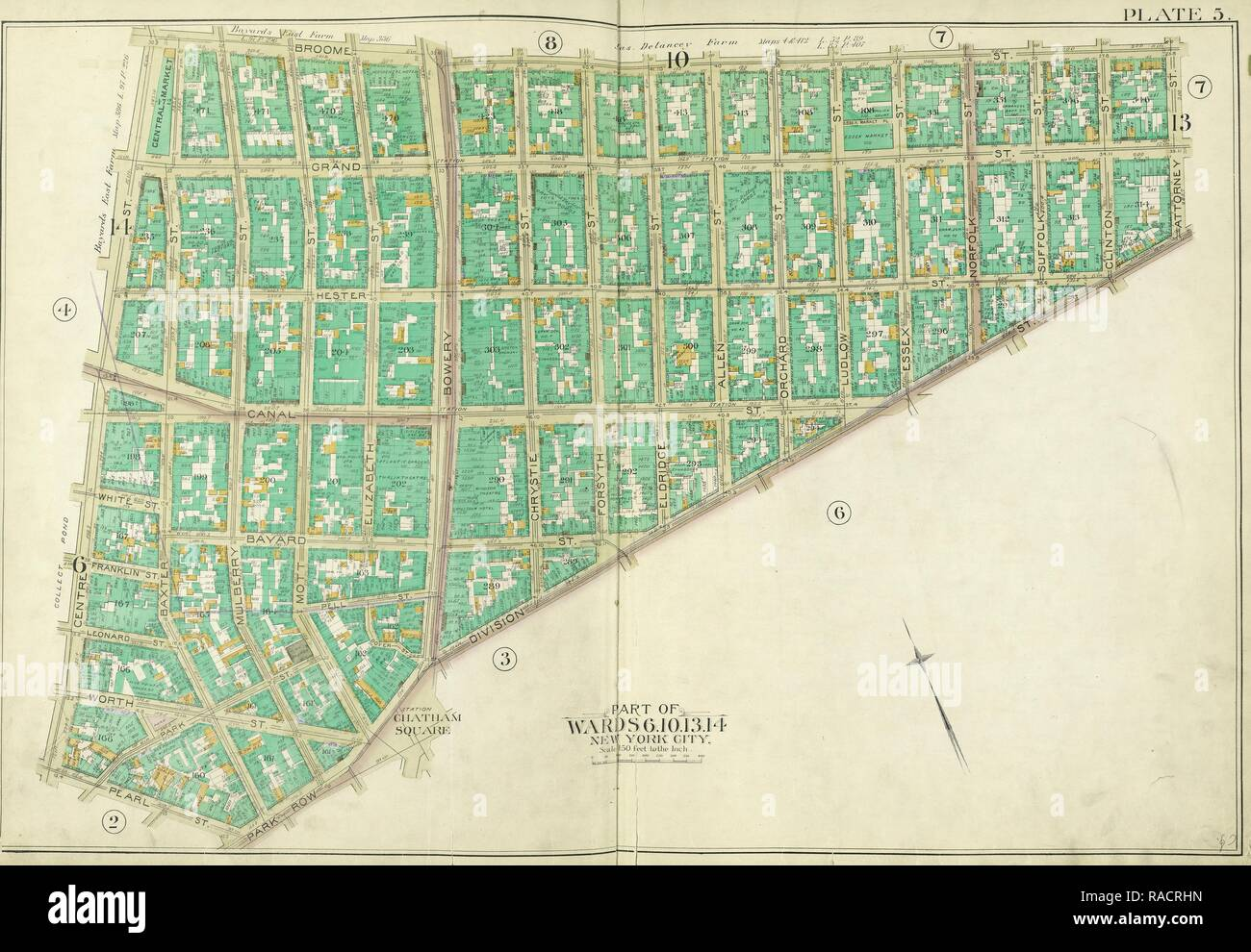 Manhattan, Double Page Plate No. 5 [Map bounded by Broome St., Division St., Pearl St., Centre St.. Reimagined Stock Photo