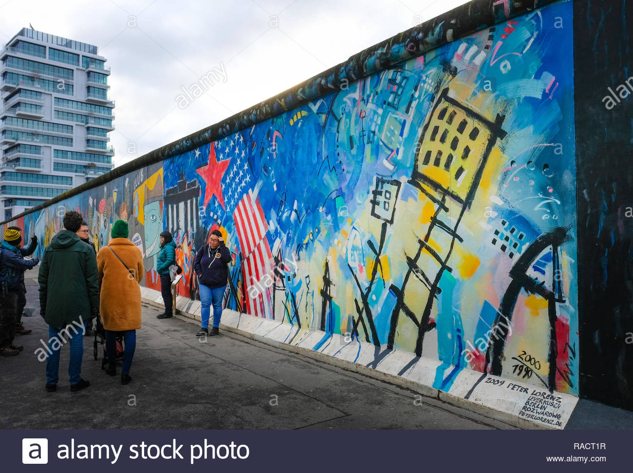 BERLIN - Graffiti at the East Side Gallery - Stock Image