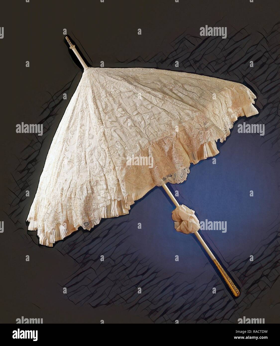 Parasol with deck of needle lace, point de gaze de Bruxelles, lined with crepe georgett. Reimagined by Gibon. Classic reimagined - Stock Image