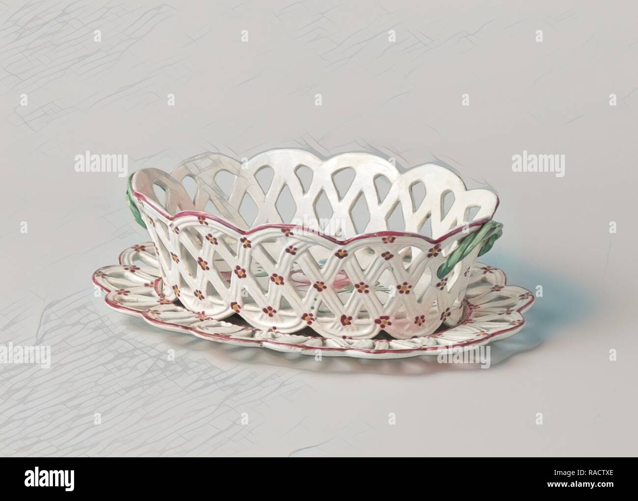 Fruit bowl with ears and openwork wall and rim, painted with flowers and insect. Reimagined by Gibon. Classic art reimagined - Stock Image