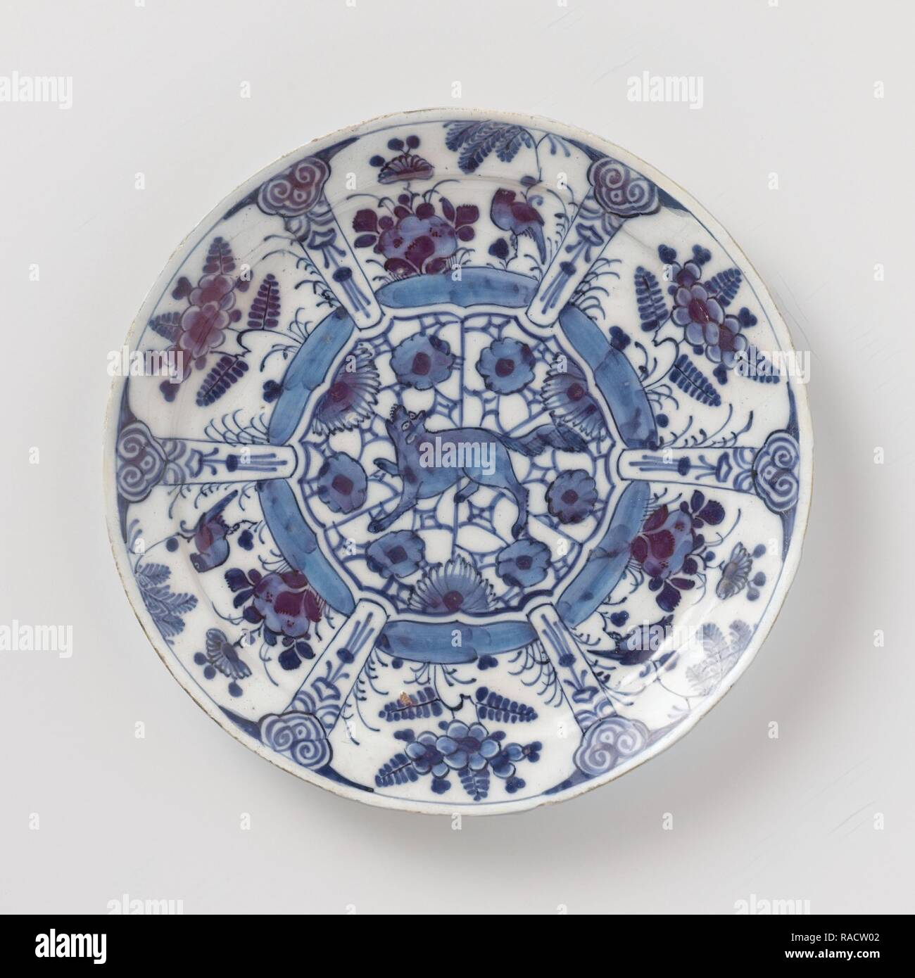 Blue and white Delft pottery, decorated with plants and birds and a growling wolf or fox in the middl. Reimagined - Stock Image