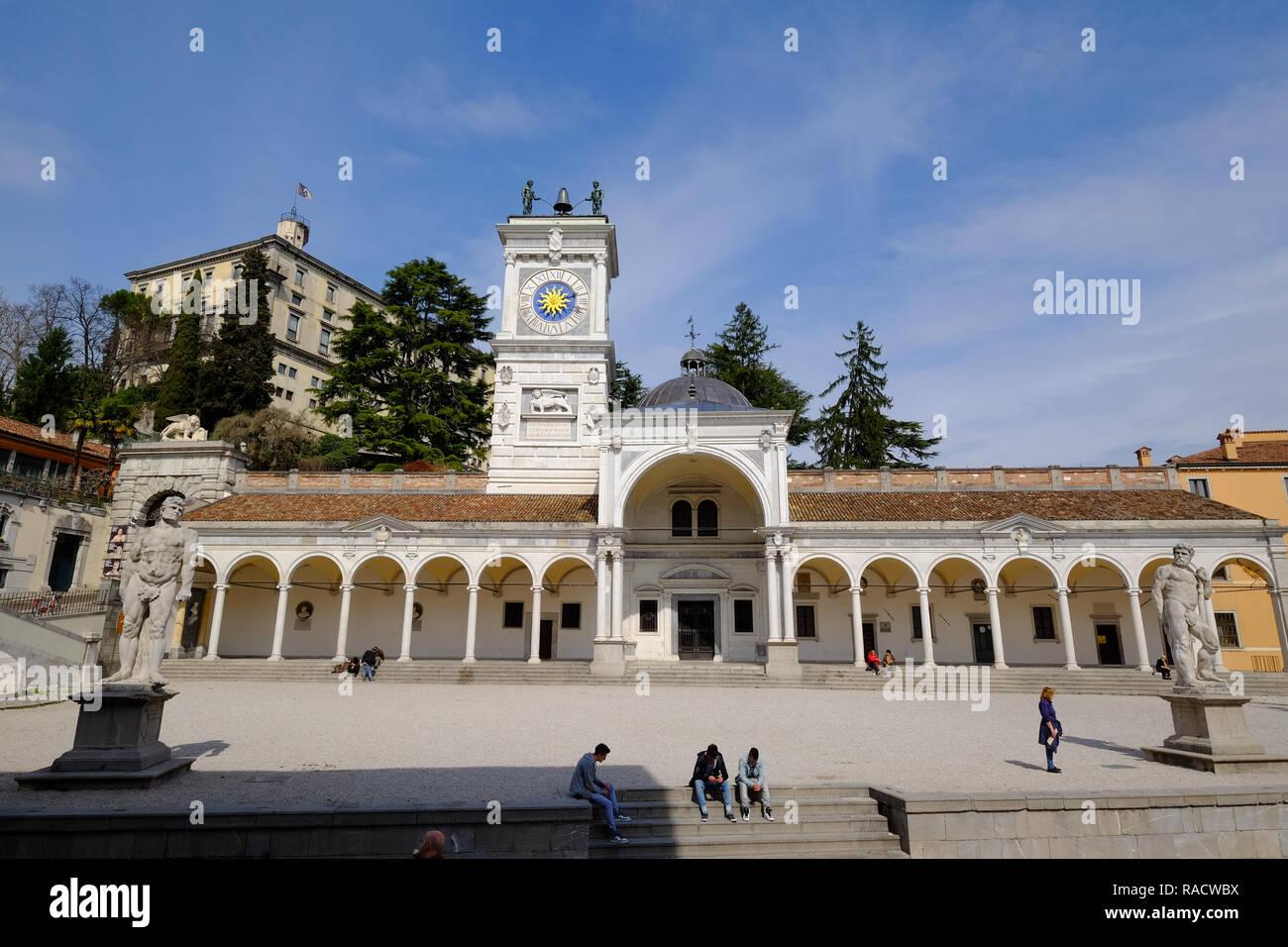 Loggia di San Giovanni and the Clock Tower, Piazza della Liberta, Udine, Friuli Venezia Giulia, Italy, Europe - Stock Image