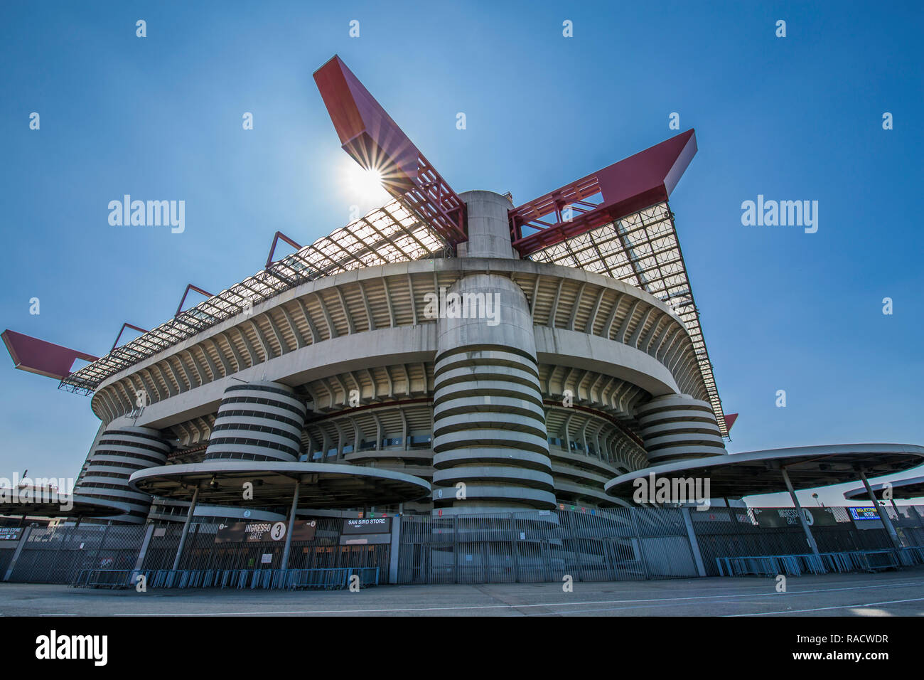 View of San Siro Stadium on a sunny day, Milan, Lombardy, Italy, Europe - Stock Photo