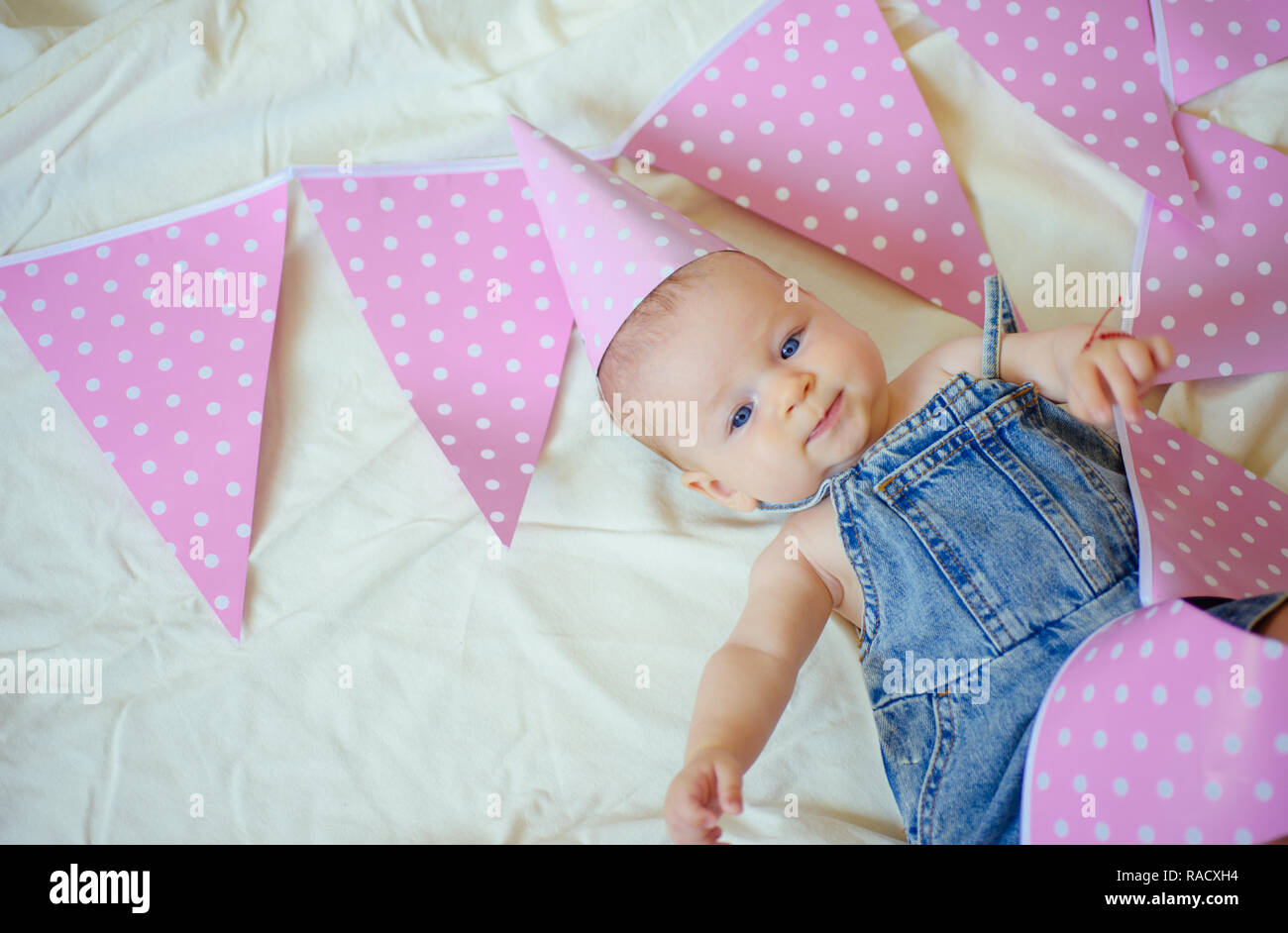 My best little friend. Sweet little baby. New life and birth. Childhood happiness. Portrait of happy little child. Small girl. Happy birthday. Family. Stock Photo