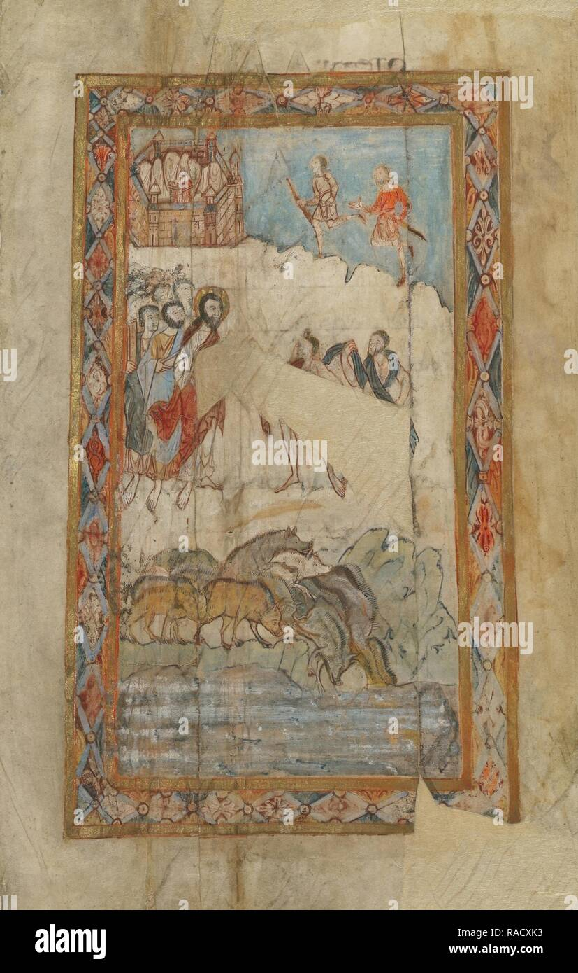 The Miracle of the Gadarene Swine, Canterbury (?), England, about 1000, Tempera colors, gold leaf, and ink on reimagined - Stock Image