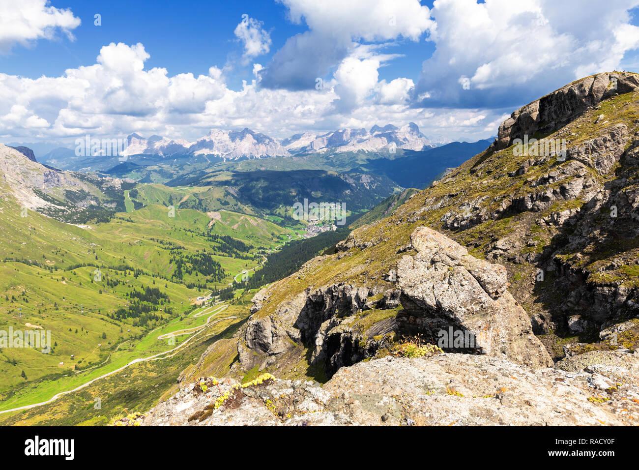 Badia Valley and Pordoi Pass road, Pordoi Pass, Fassa Valley, Trentino, Dolomites, Italy, Europe - Stock Image