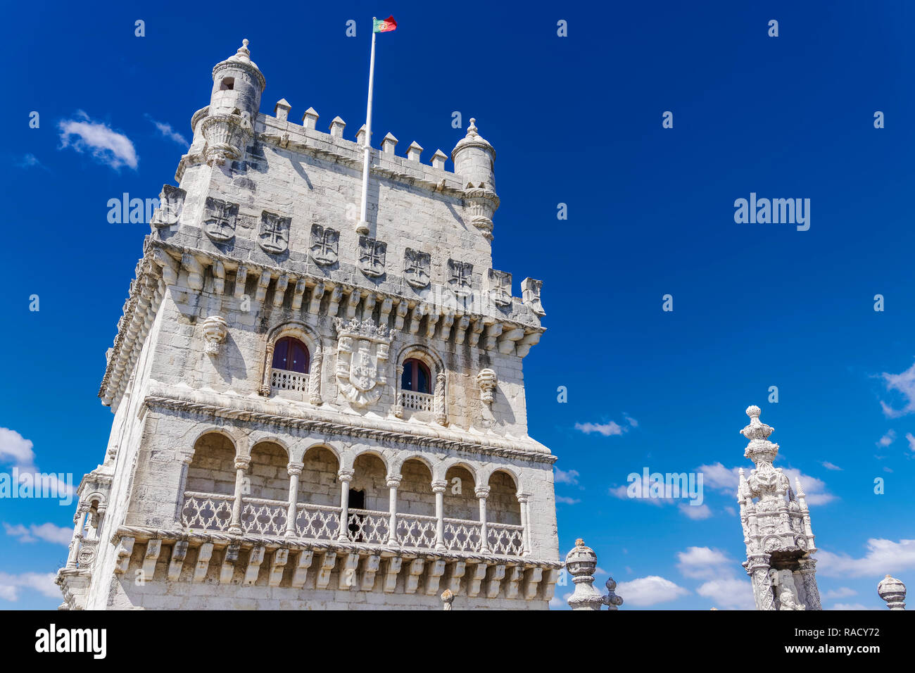Fortified floors and terrace view of the Torre de Belem (Belem Tower), medieval defensive tower on the bank of Tagus River, UNESCO, Lisbon, Portugal Stock Photo