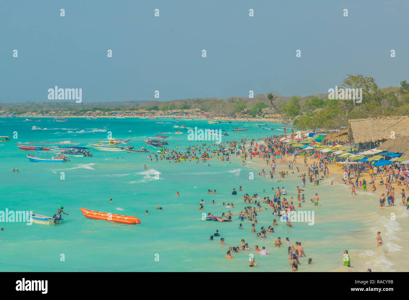 Playa Blanca Beach In Cartagena Colombia South America Stock