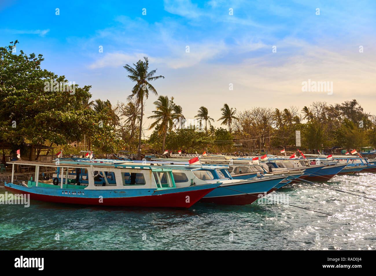 Boats moored in Gili Air's harbour, Indonesia, Southeast Asia, Asia - Stock Image