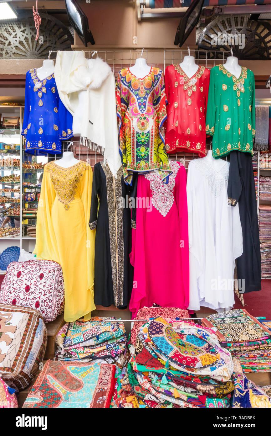 Dubai souks and its colours from goods in Bur Dubai Stock