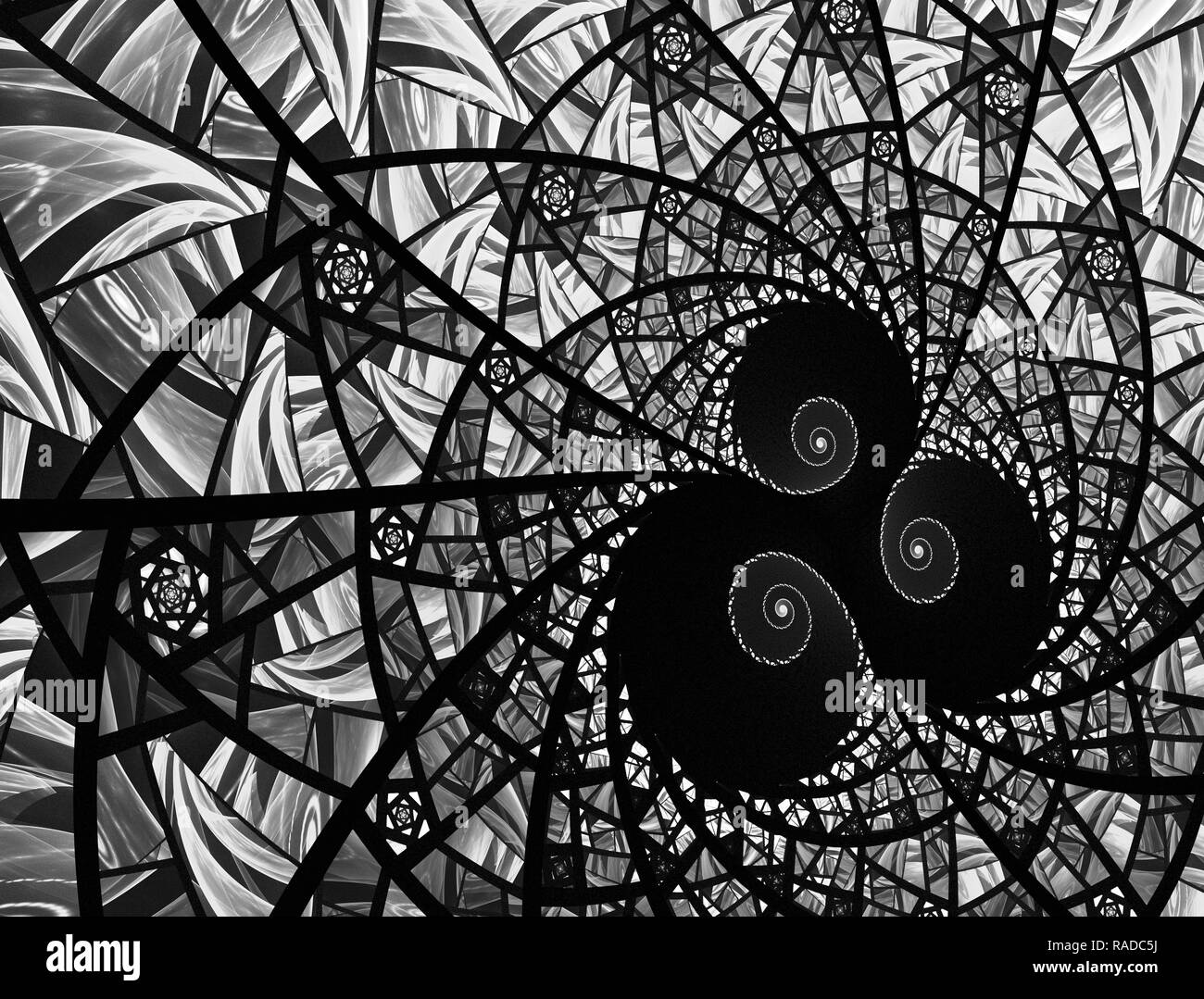 Geometric design. Mosaic texture. Stained glass effect. Artistic abstraction composed of virtual stained glass fragments on the subject art, craft and - Stock Image