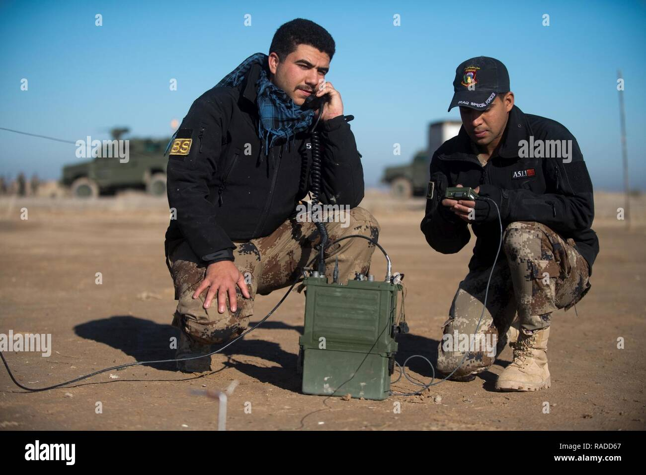 Iraqi Counter-Terrorism Service trainees conduct high frequency communications training near Baghdad, Iraq, Jan. 30, 2017. ICTS is Iraq's elite counter-terrorism force and has proven to be an effective fighting force against ISIL. This training is part of the overall Combined Joint Task Force – Operation Inherent Resolve building partner capacity mission to increase the capabilities of partnered forces fighting ISIL. CJTF-OIR is the global Coalition to defeat ISIL in Iraq and Syria. - Stock Image