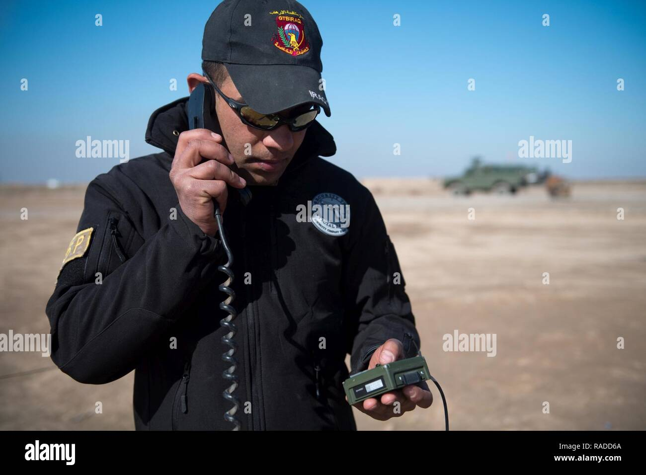 An Iraqi Counter-Terrorism Service trainee conducts high frequency communications training near Baghdad, Iraq, Jan. 30, 2017. ICTS is Iraq's elite counter-terrorism force and has proven to be an effective fighting force against ISIL. This training is part of the overall Combined Joint Task Force – Operation Inherent Resolve building partner capacity mission to increase the capabilities of partnered forces fighting ISIL. CJTF-OIR is the global Coalition to defeat ISIL in Iraq and Syria. - Stock Image