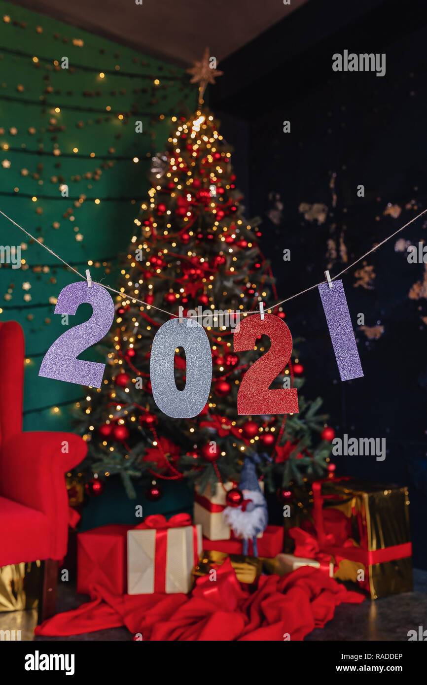 Christmas Tree Recolection 2021 2021 Numbers New Year Party Christmas Tree At Home Stock Photo Alamy