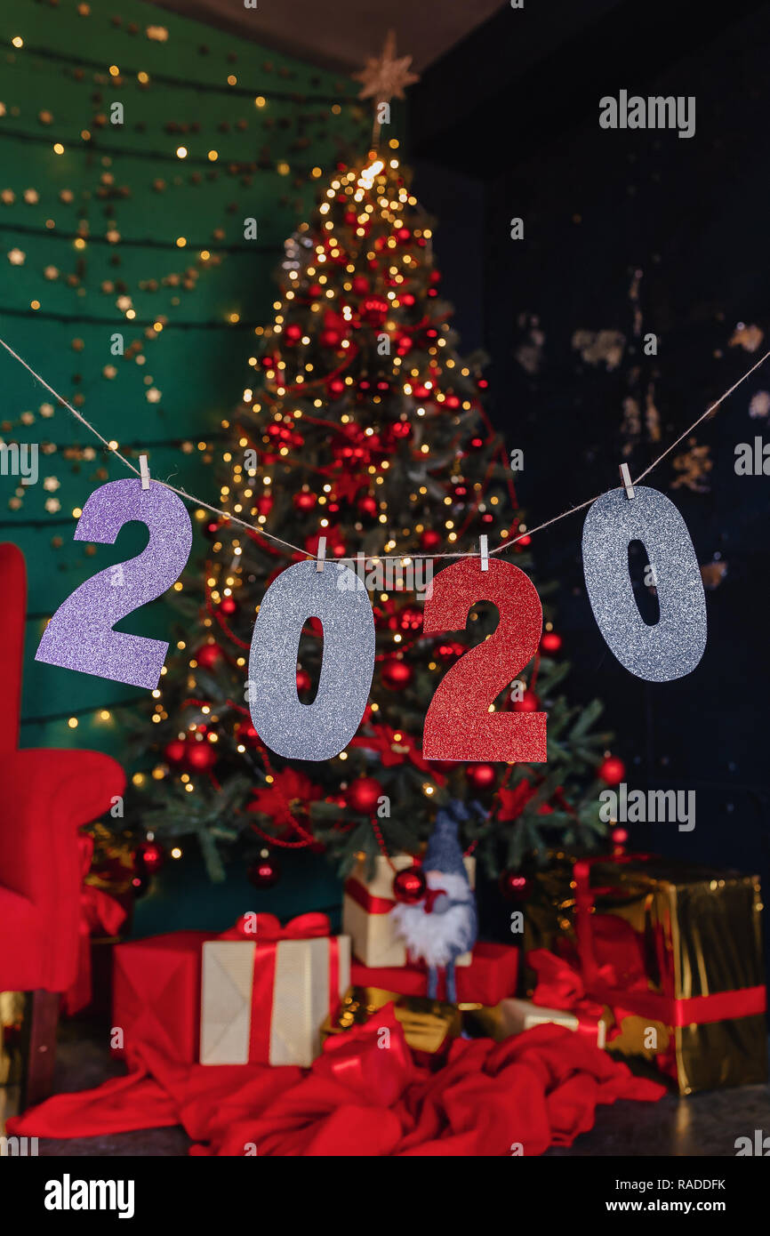 Christmas 2020.2020 Numbers New Year Party Christmas Tree At Home Stock