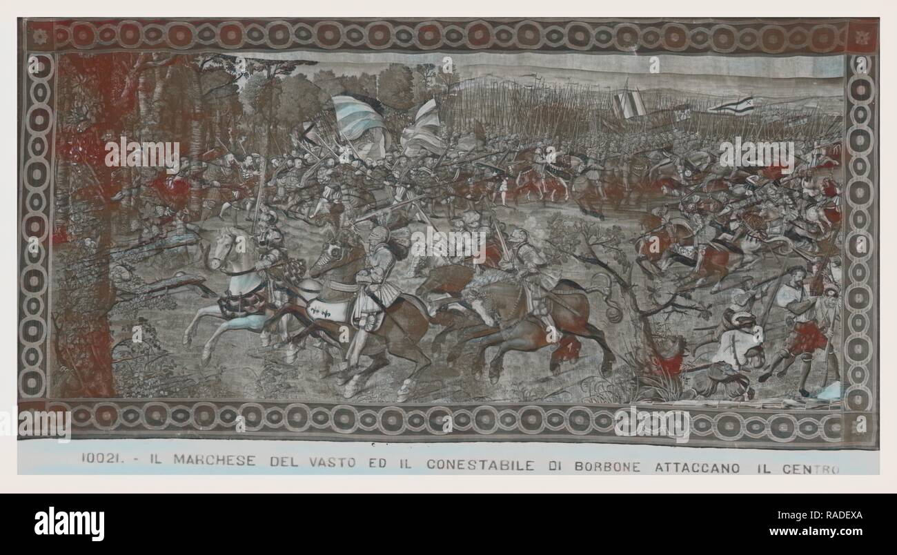 Defeat of French cavalry, imperial infantries capture enemy artillerie. Reimagined by Gibon. Classic art with a reimagined - Stock Image