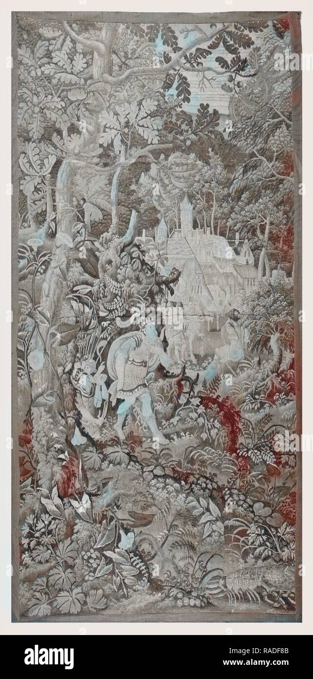 Forest with classical kings and armies near villag. Reimagined by Gibon. Classic art with a modern twist reimagined - Stock Image