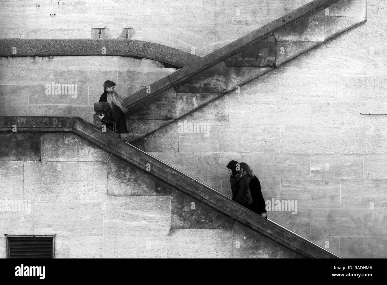 London/England - March 07 2015: People walking up an aging flight of stairs by Waterloo Bridge Southbank London - Stock Image