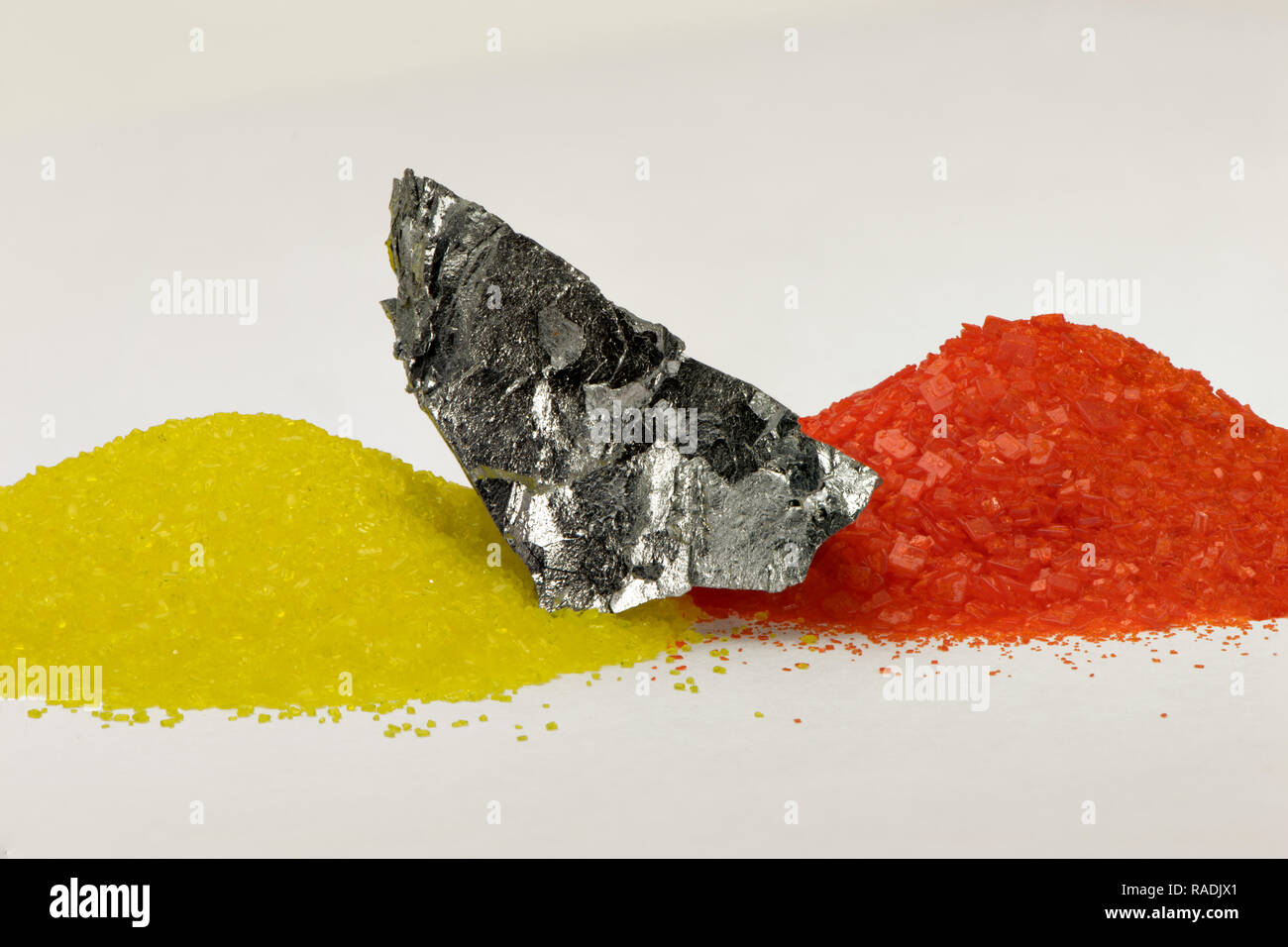 element chromium, Cr, with its salts chromate and dichromate - Stock Image