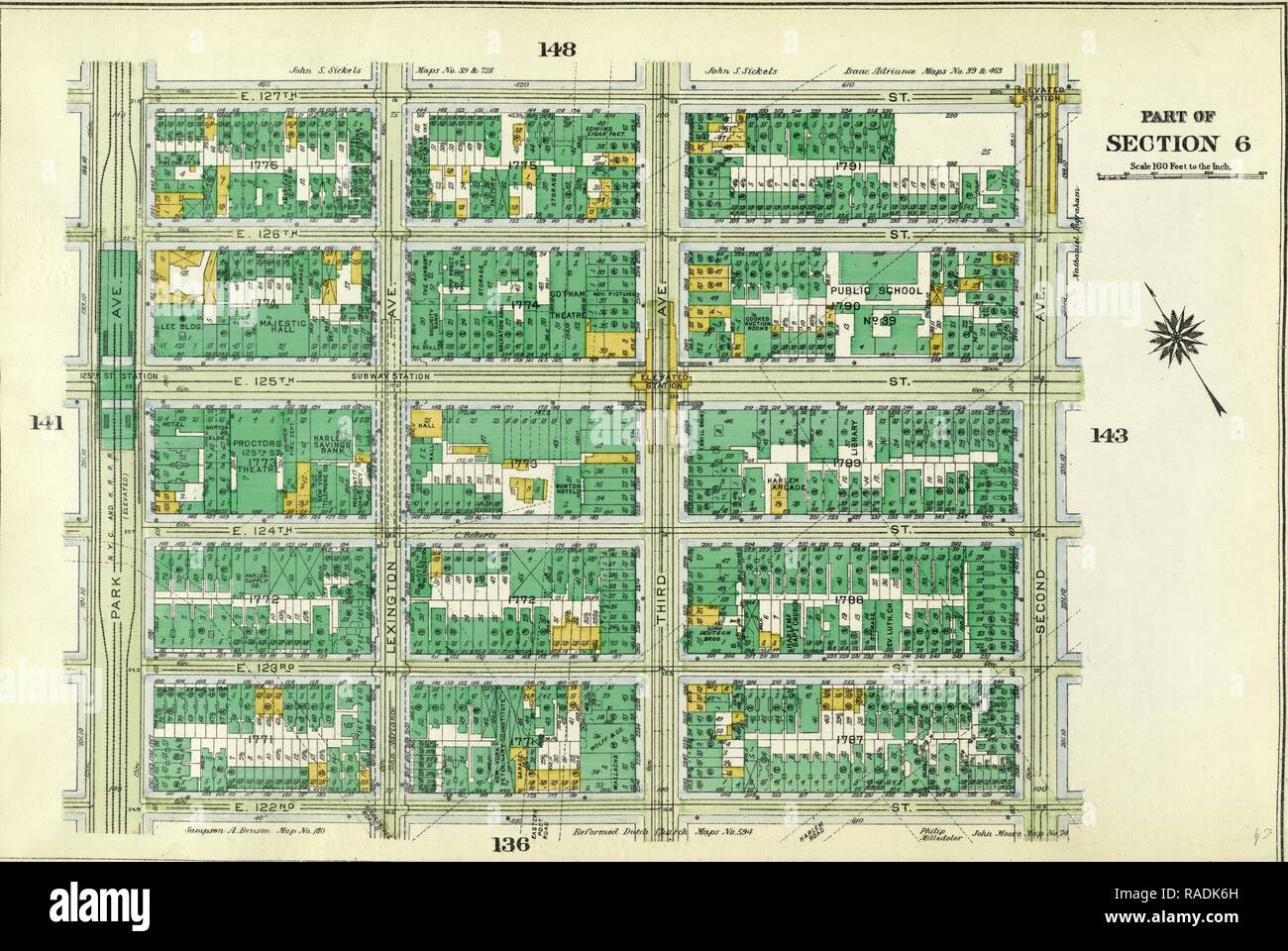 Plate 142: Bounded by E. 127th Street, Second Avenue, E. 122nd Street and Park Avenue. Reimagined by Gibon. Classic reimagined - Stock Image
