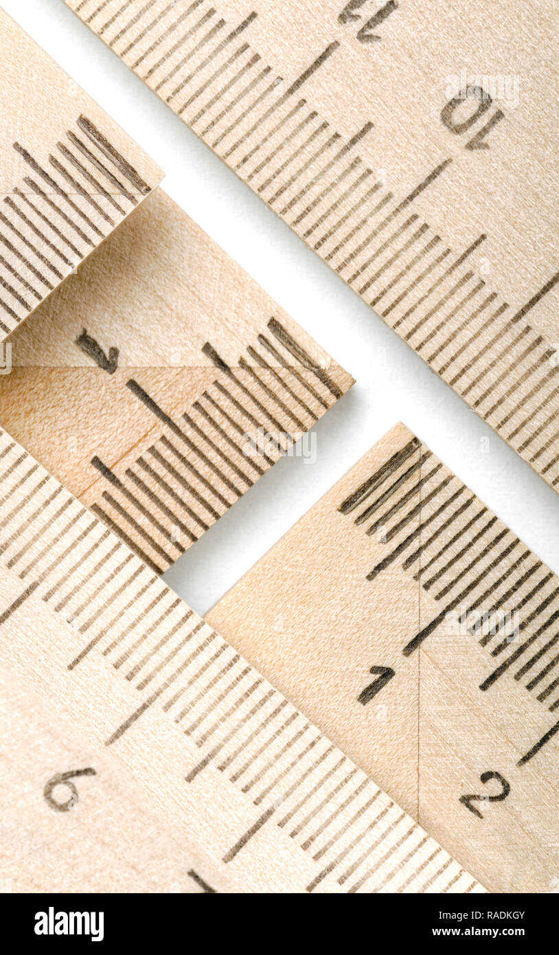 Backgrounds and textures: group of wooden rulers, educational abstract - Stock Image