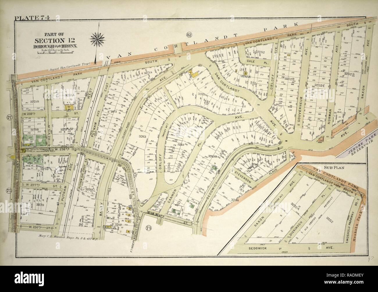 Plate 74, Part of Section 12, Borough of the Bronx. Bounded by Van Cortlandt Park South, Mosholu Parkway, Sedgwick reimagined - Stock Image