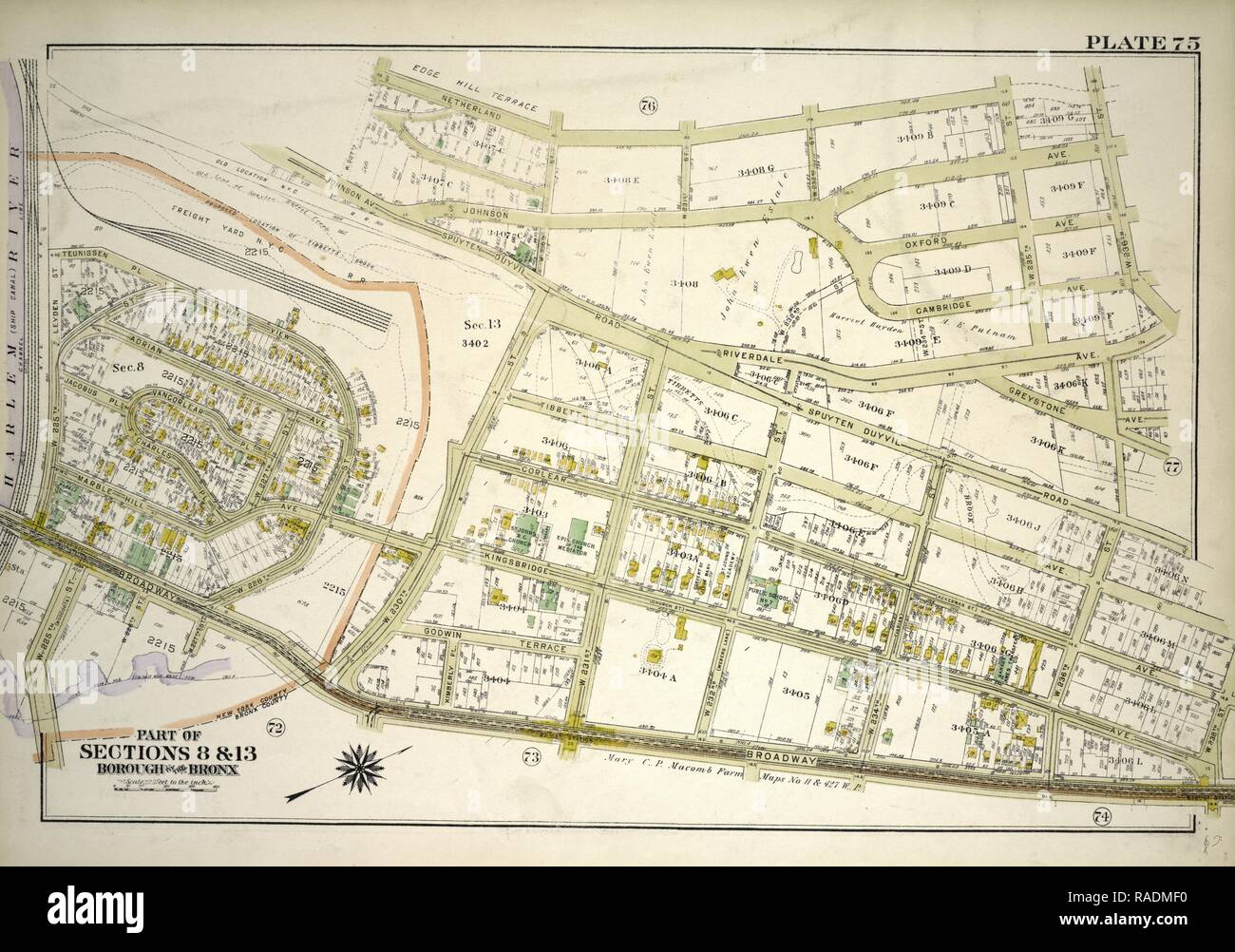 Plate 75, Part of Sections 8&13, Borough of the Bronx. Bounded by Netherland Avenue, W. 235th Street, Spuyten Duyvil reimagined - Stock Image