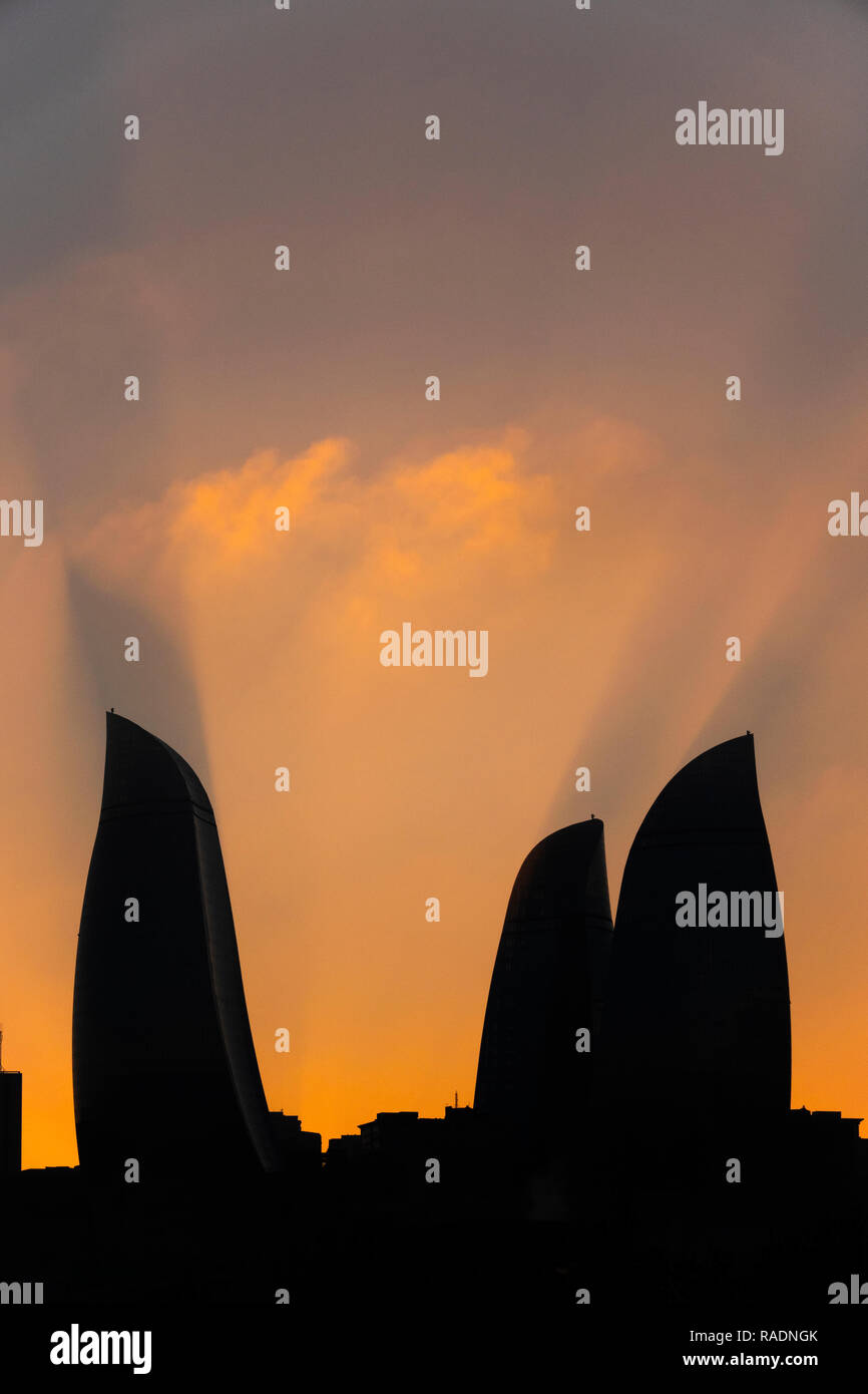 Silhouette of Flame Towers, Baku, Azerbaijan - Stock Image