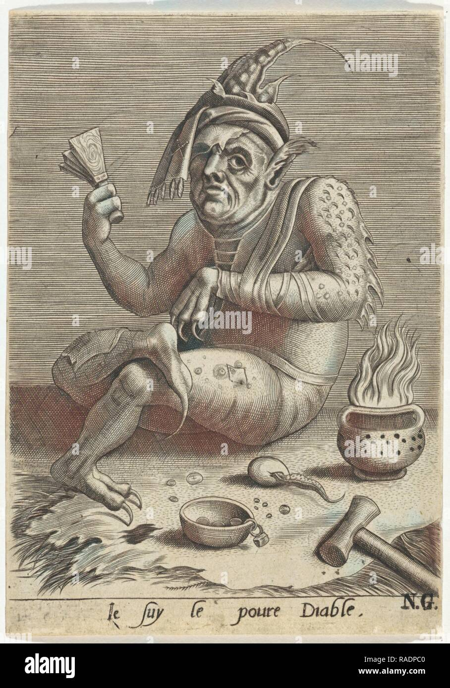 Lepers beggar in the guise of the Devil, Anonymous, Jheronimus Bosch, 1474 - 156. Reimagined by Gibon. Classic art reimagined - Stock Image