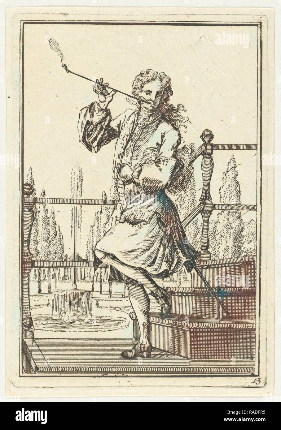 Pipe Smoking Man, Adolf van der Laan, c. 1710 - 175. Reimagined by Gibon. Classic art with a modern twist reimagined - Stock Image