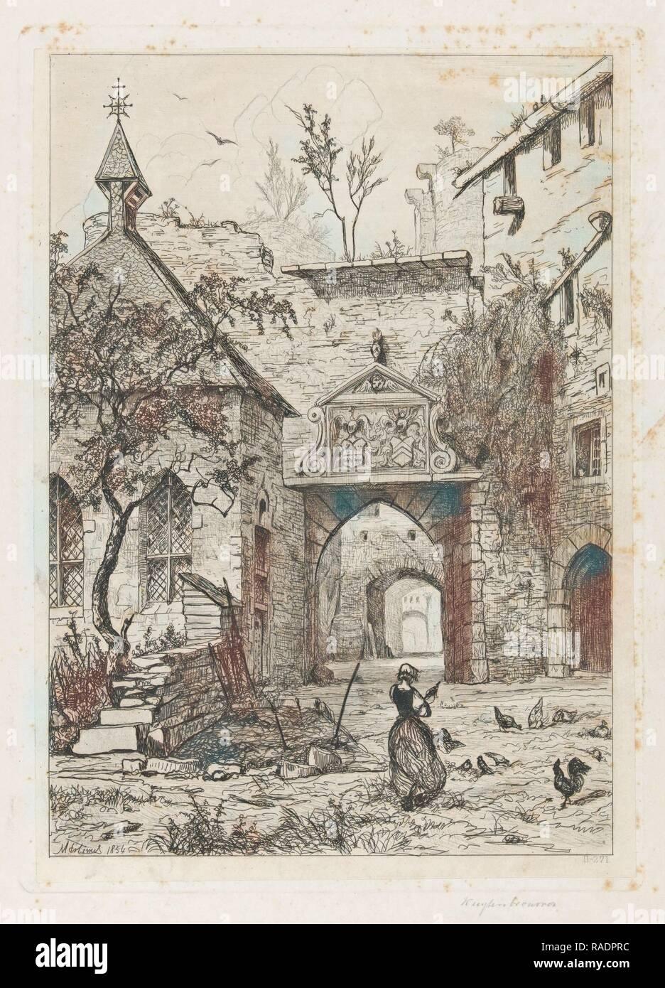 Entrance to the castle of Hollenfeltz, Martinus Antonius Kuytenbrouwer (jr.), 185. Reimagined by Gibon. Classic art reimagined - Stock Image
