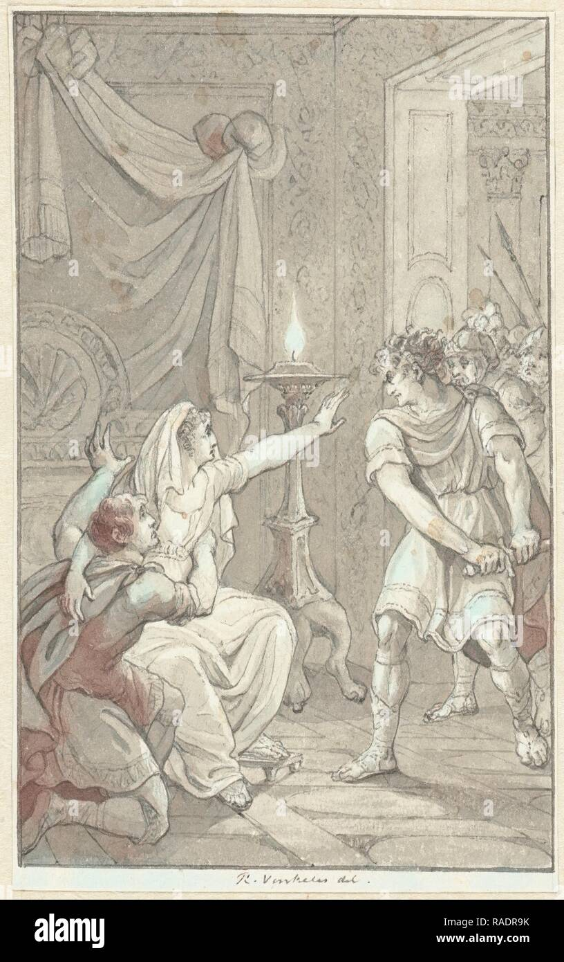 Caracalla murdered his brother Geta in the bedroom of their mother, Reinier Vinkeles, 180. Reimagined - Stock Image