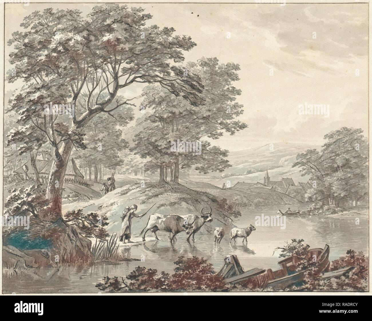 Landscape with cattle by Voorde The Netherlands, Geerlig Grijpmoed, 1754 -  182. Reimagined