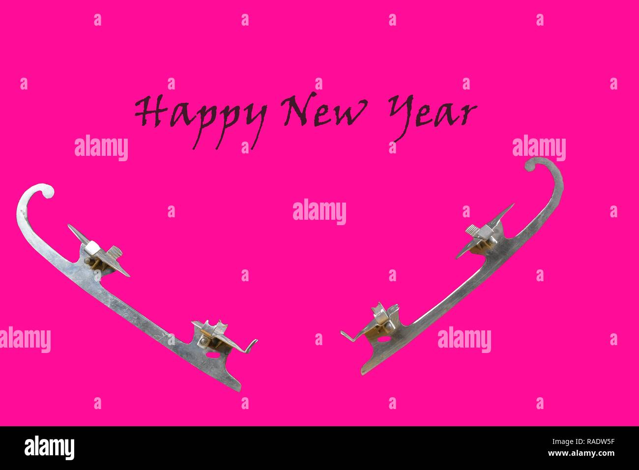 Vintage ice-skate on pink background. Text - Happy New Year. Copy space - Stock Image