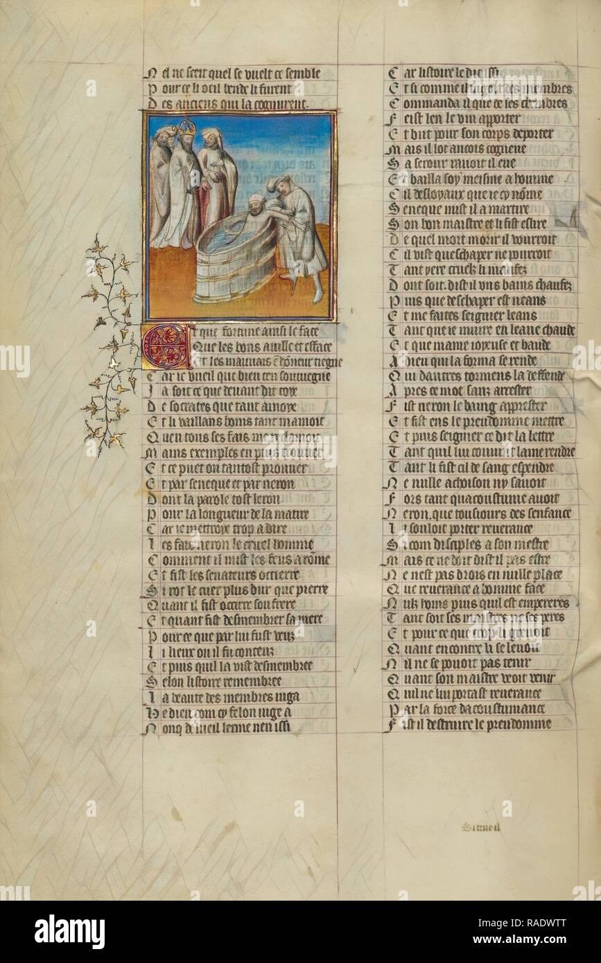 Emperor Nero Ordering Seneca's Veins Slashed, Paris, France, about 1405, Tempera colors, gold leaf, and ink on reimagined - Stock Image
