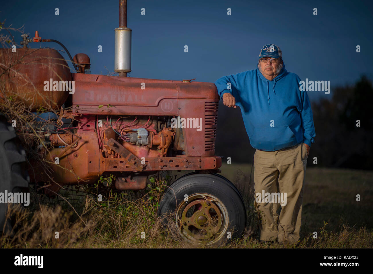 William Harrison, a multi-generational Native American rancher who raises 100 head of cattle on his farm in of Okfuskee County, Oklahoma. - Stock Image