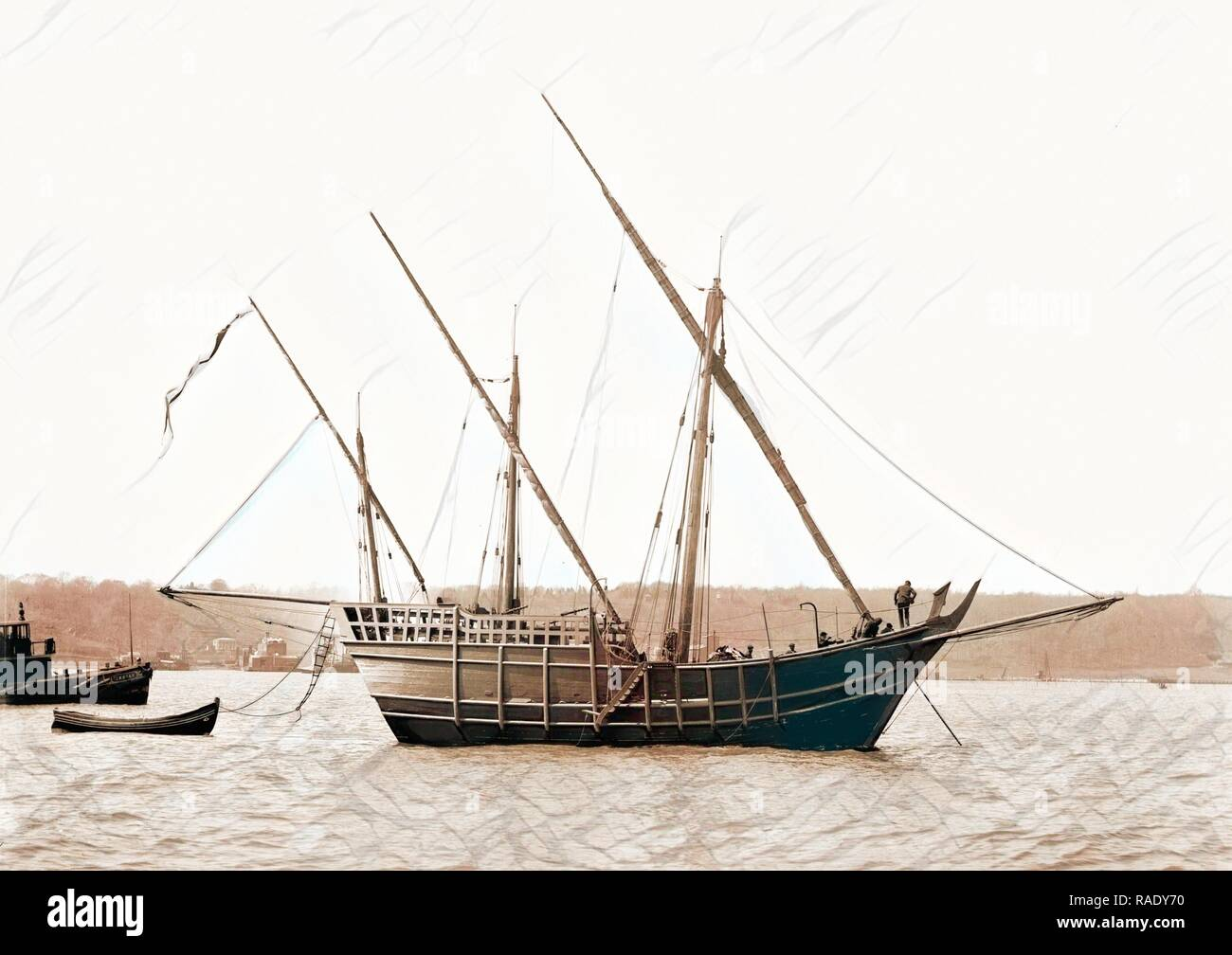 Spanish caravel Nina, Nina (Caravel : Replica), Ships, 189. Reimagined by Gibon. Classic art with a modern twist reimagined - Stock Image