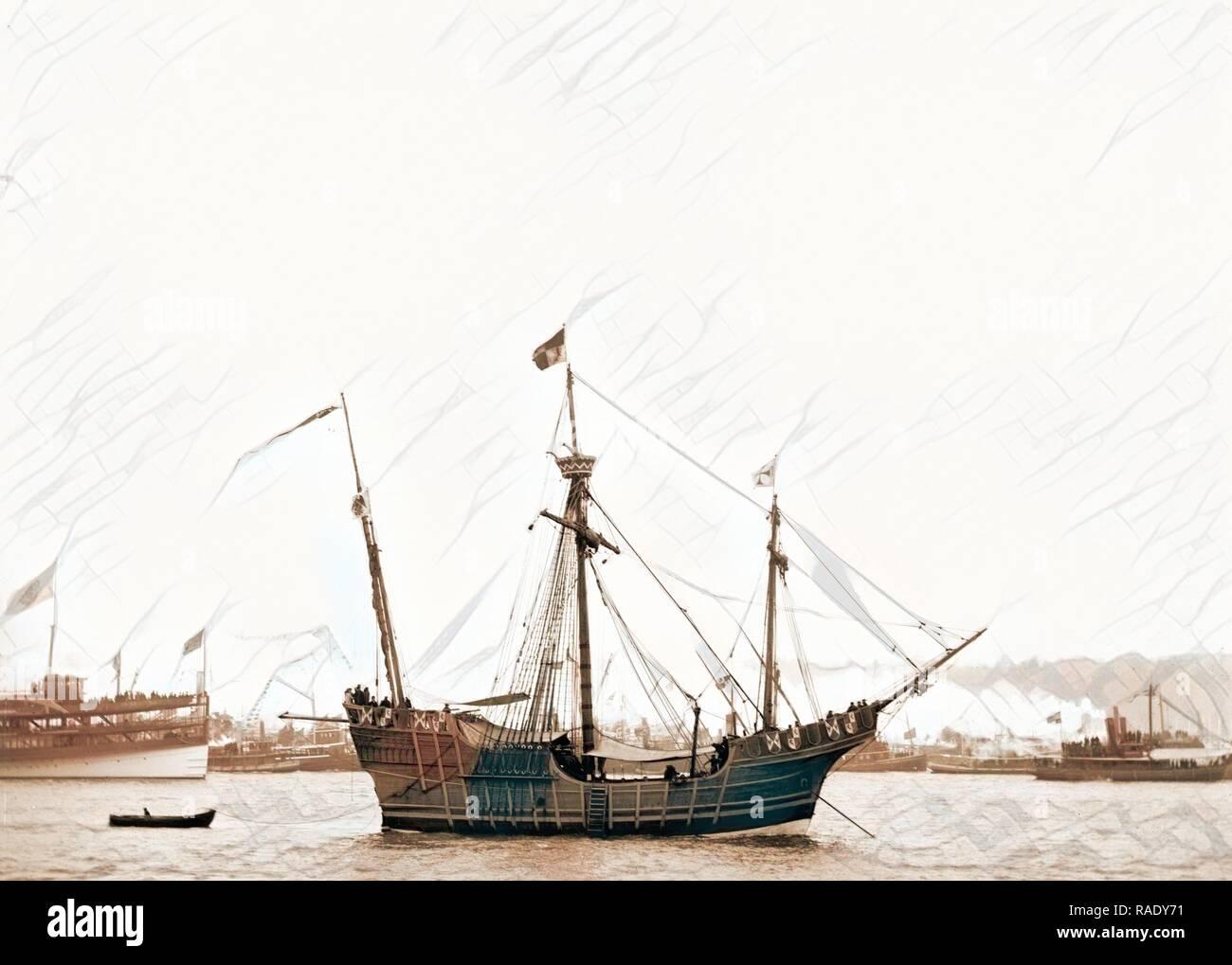 Spanish caravel Santa Maria, Santa Maria (Sailing ship : Replica), Ships, 189. Reimagined by Gibon. Classic art with reimagined - Stock Image