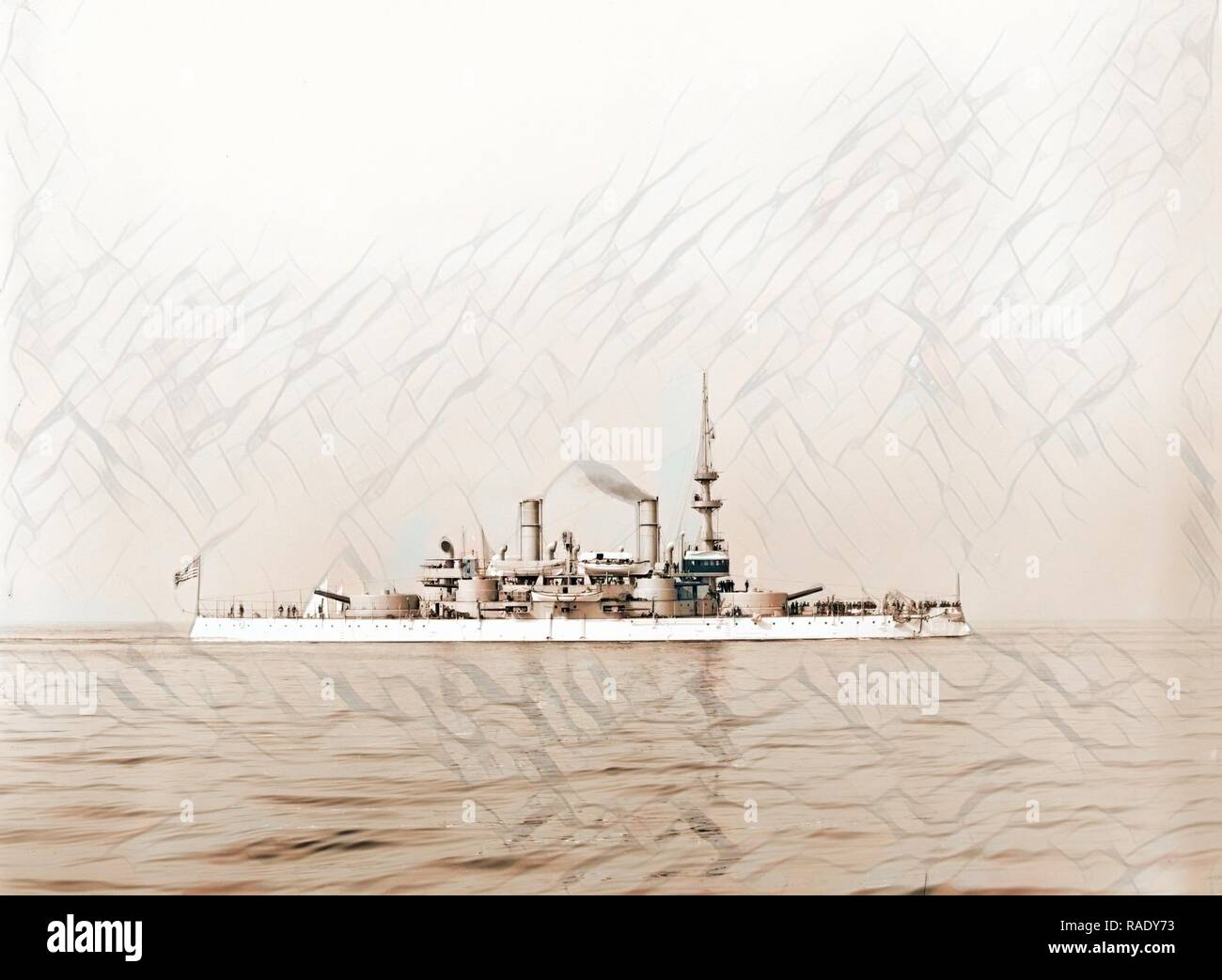 U.S.S. Indiana, Indiana (Battleship), Battleships, American, 189. Reimagined by Gibon. Classic art with a modern reimagined - Stock Image