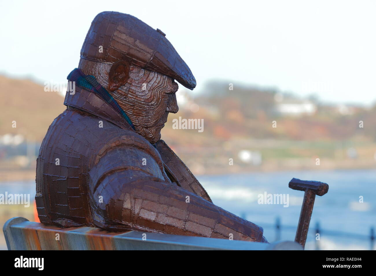 Freddie Gilroy and the Belsen Stragglers' is a giant steel sculpture made by Ray Lonsdale, which is on permanent display in Scarborough,North Bay. - Stock Image