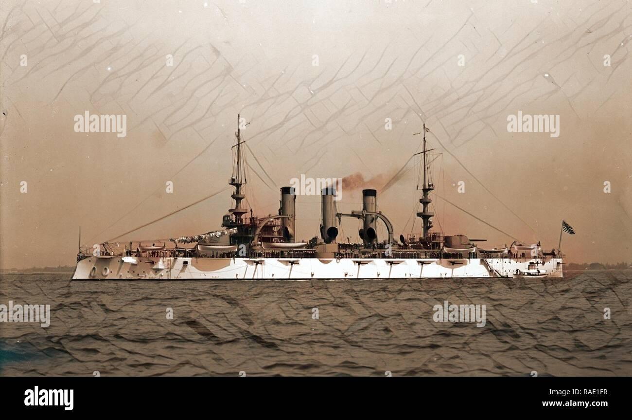 U.S.S. Virginia, Virginia (Battleship), Battleships, American, 190. Reimagined by Gibon. Classic art with a modern reimagined - Stock Image