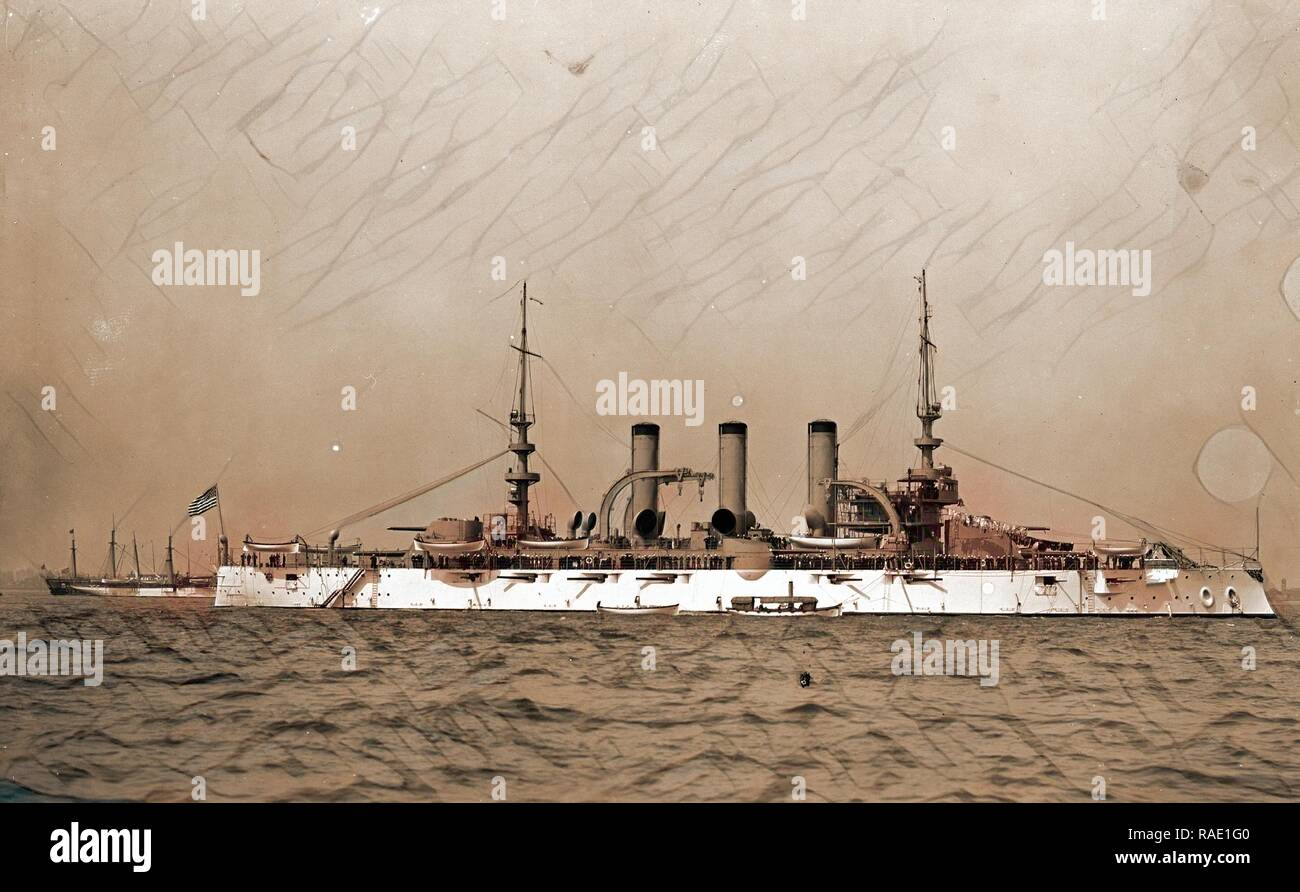 Battleship, probably American, Battleships, American, 190. Reimagined by Gibon. Classic art with a modern twist reimagined - Stock Image