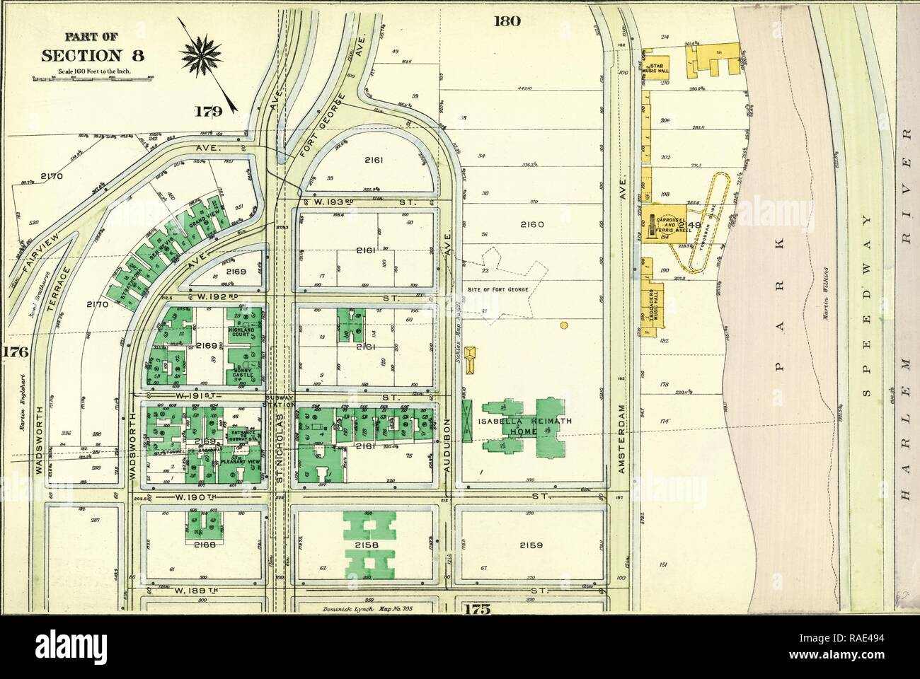 Plate 177: Bounded by Fairview Avenue, Isabella Heimath Home, Amsterdam Avenue Harlem River,W. 189th Street, W. 190th reimagined - Stock Image