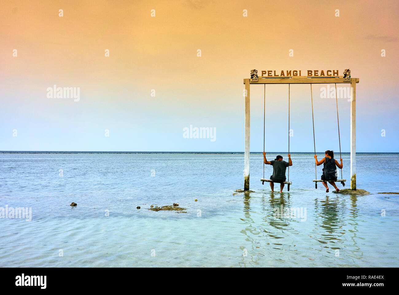 Sea swing at Pelangi beach on Gili Air, West Nusa Tenggara, Indonesia, Southeast Asia, Asia - Stock Image