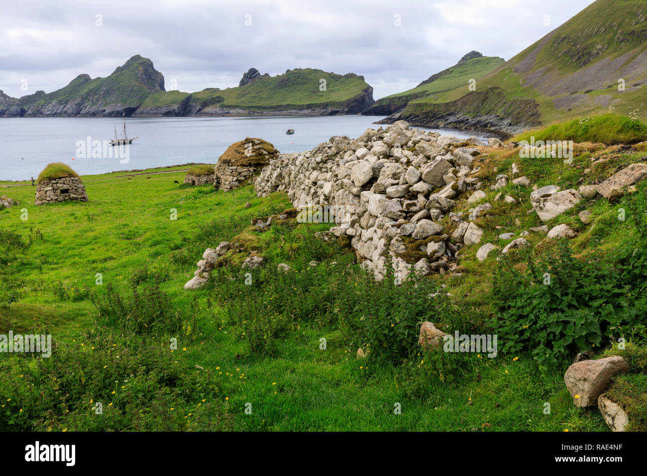 Cleits, food stores and Village Bay, evacuated village, Hirta, remote St. Kilda Archipelago, UNESCO, Outer Hebrides, Scotland, United Kingdom - Stock Image