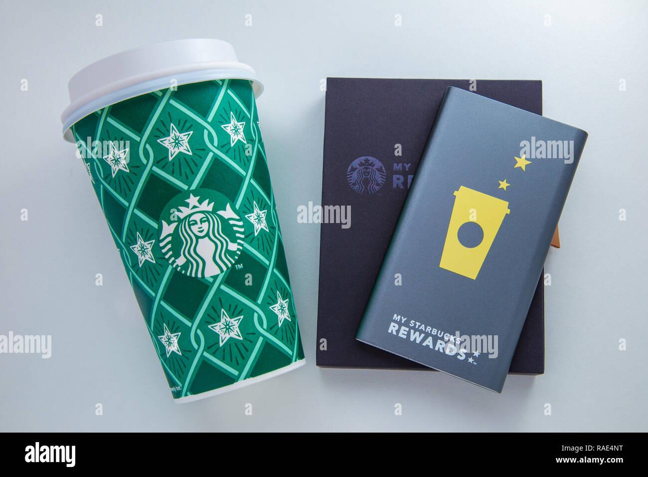 Chiang Mai Thailand 1 January 2019 Starbucks Power Bank