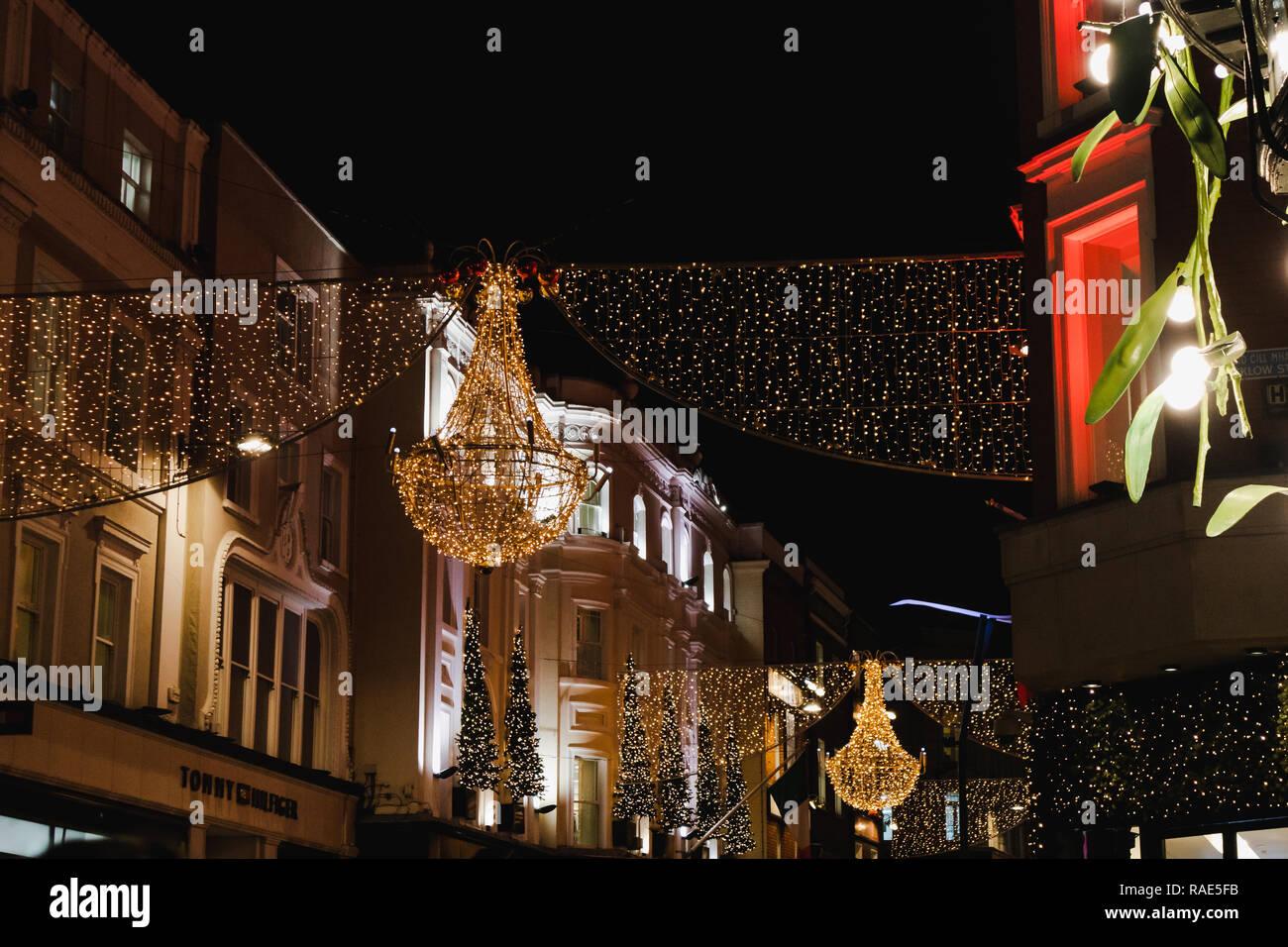 Christmas In Dublin Ireland.Dublin Ireland December 19th 2018 Christmas Lights In