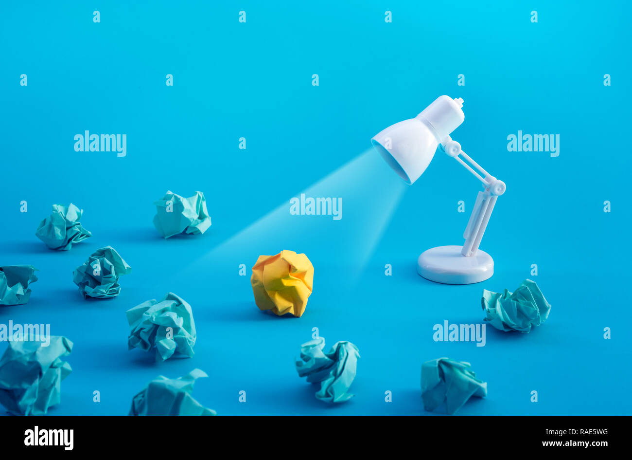 Idea and creativity concepts with paper crumpled ball and lamp.Think of box.Business solution.Outstanding images Stock Photo